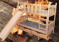 łóżko, łóżka piętrowe 2 osobowe ze zjeżdżalnią