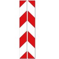 NAKLEJKI PASY OSTRZEGAWCZE biało - czerwone 5x40cm