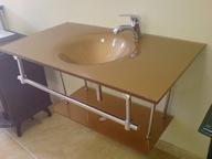 Szklana umywalka z baterią 6364 Gold LIKWIDACJA
