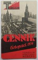 TORGSIN, Cennik listopad 1934, OKŁADKA AWANGARDA