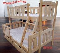 łóżko, łóżka piętrowe 3 osobowe REMIX