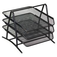 Zestaw 3 szuflad metalowych siatka czarny
