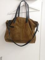 Skórzana torebka Mango torba shopper brązowa duża