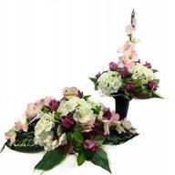 Sztuczne kwiaty stroik na grób zestaw na cmentarz
