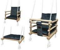 Huśtawka Drewniana Dla Dzieci Velvet Poduszka 3w1