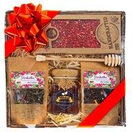 Kosz zestaw prezent herbata miód czekolada natural