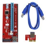 RISER 007S RED USB3.0 PCI-E PCI 1x-16x SATA TAŚMA