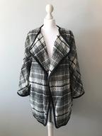 H&M luźny płaszcz narzutka z wełną 50% w kratę