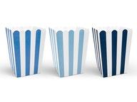 Pudełka na POPCORN niebiesko białe SAMOLOCIK 6 szt