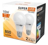 2x Żarówka LED (DWUPAK) 10W = 80W E27 SuperLED