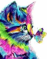 Obraz MALOWANIE PO NUMERACH Tęczowy Kot Z Motylem