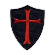 Naszywka Tarcza Zakonu Templariuszy - czarna HAFT
