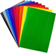 TECZKI Z GUMKĄ kolorowe A4 tekturowe MIX 10 kol
