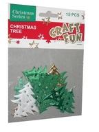 Dekoracja świąteczna tkanina CHOINKI - 15 szt