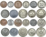 Cesarstwo - zestaw 11 monet 1890-1916 w tym SREBRO