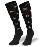 Podkolanówki jeździeckie SPJM – czarne w konie