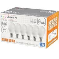 Zestaw 6x Żarówka LED Kulka E14 8W=60W LEDLUMEN