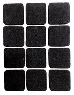 Podkładki filcowe pod krzesła 12szt czarne kwadrat