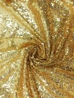 Złote cekiny drobny cekin siatka materiał na metry