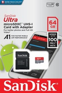 ADAPTER SANDISK ULTRA MICRO SD SDXC 64GB 100 MB/S