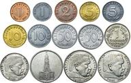 III Rzesza zestaw 14 monet 1936-1945 w tym SREBRO
