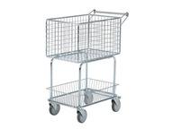 Stalowy wózek sklepowy - pocztowy z hamulcem