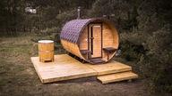 Sauna ogrodowa beczka kombi dł.3m, piec na drewno