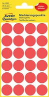 Etykiety Avery 3595 kółka czerwone usuwalne 18 mm