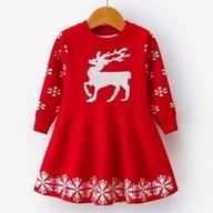 Czerwona sukienka świąteczna 122 mikołajka świeta
