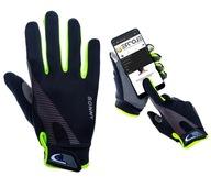 Rękawiczki rowerowe dotykowe elastyczne zielone