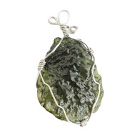 Natural Crystal Green Mołdawit Naszyjnik Wisiorek
