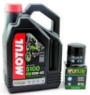 Olej MOTUL 5100 10W40 4t 4l ma2 filtr HIFLO HF303