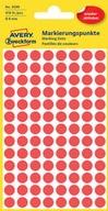 Etykiety Avery 3589 kółka czerwone usuwalne 8 mm