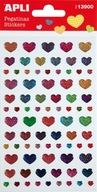 Naklejki APLI Hearts z brokatem mix kolorów