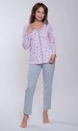 PIzama damskaL,rozpinana.wzór,długi rękaw ,spodnie