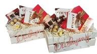 Kosz prezentowy,skrzynka słodycze życzenia prezent