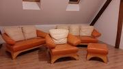 Kler Zestaw wypoczynkowy, Skóra,kanapy,fotel,pufa