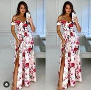 Sukienka długa maxi 34/36 Elizabeth Emo kwiaty hit
