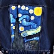 Gwiaździsta noc, kurtka hand made ręcznie malowana