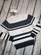 Sweter chłopięcy paski granatowy 116 biały Ovs