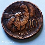 10 Centesimi z 1924 roku, Włochy, pszczoła.