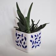 Osłonka na doniczkę, ceramiczna, ręcznie malowana