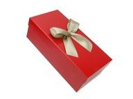 Pudełko prezentowe z pokrywką kokardą czerwone d2