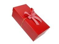 Pudełko prezentowe z pokrywką kokardą czerwone d1