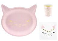 Zestaw urodzinowy talerzyki kubeczki Kotki Koty