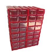 *** Czerwony organizer: 32 małe szufladki ***