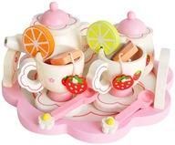 Drewniany Serwis do Herbaty Kawy dla Dzieci Lalek