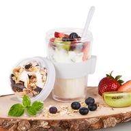 Pojemnik kubek na jogurt musli sałatkę z łyżeczką