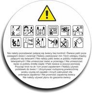 Naklejki ostrzegawcze na świece piktogramy 150szt