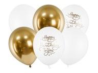 Zestaw balony złote białe Happy b-day
